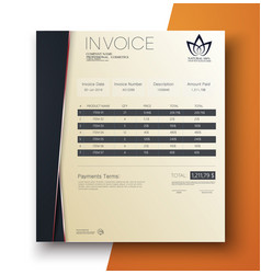 Modern invoice template design in minimal style vector