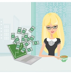 Money pouring out from a notebook computer vector image