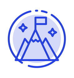 Mountain flag user interface blue dotted line vector