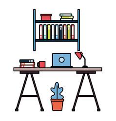 office desk bookshelf workplace vector image