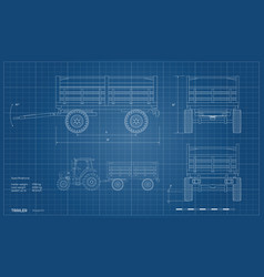 outline isolated drawing tractor trailer vector image