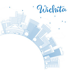 Outline wichita skyline with blue buildings and vector