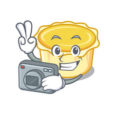 Photographer egg tart mascot cartoon vector