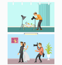 photographer profession and hobby bright banners vector image