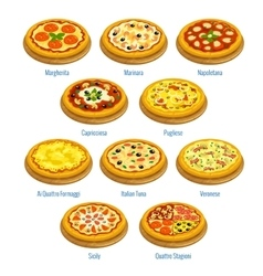 Pizza icons Italian cuisine menu elements vector