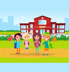 Primary school kids with satchels on shoulders vector