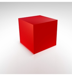Red cube with reflections and shadows vector image