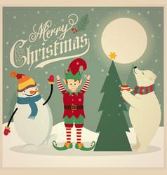 retro christmas card with polar bear elf and vector image