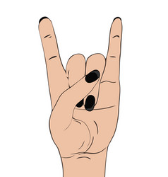 Rock-n-roll hand gesture on white background vector