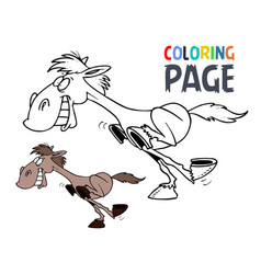 running horse cartoon coloring page vector image