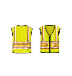 Safety vest front and back view yellow jacket vector