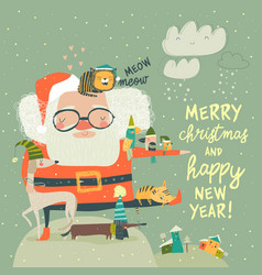 santa claus with cute cats and dogs vector image