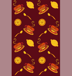 seamless pattern tea drinking vector image