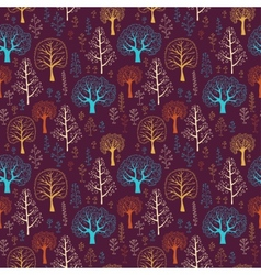 Seamless tree pattern with forest vector