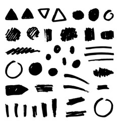 set black paint grunge objects vector image