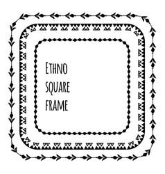 Set black silhouette square flat tribal frames vector