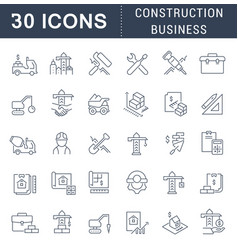 Set line icons construction business vector