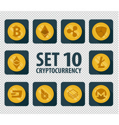 set of 10 flat currency cryptocurrency vector image