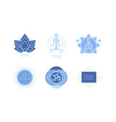set of 6 monochrome logos for yoga studio vector image