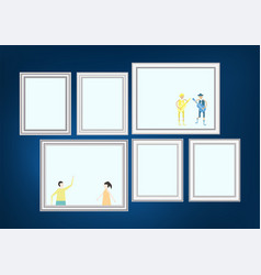 set of decorative frame picture with silver vector image