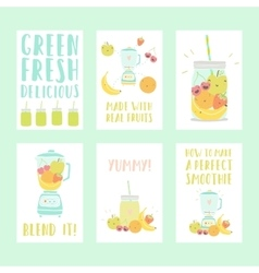 Set of six nice smoothie cards vector image