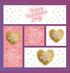 set of valentines day cards with hearts and vector image