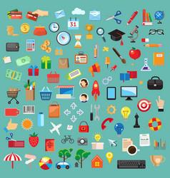 set universal icons flat design vector image