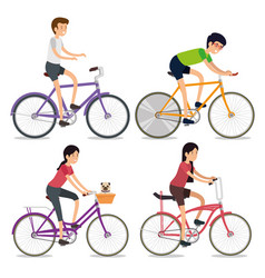 set women and men ride bicycle sport vector image