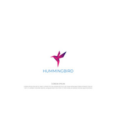 simple modern 3d colibri or hummingbird logo vector image