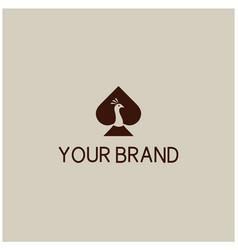 Simple peacock casino logo design vector