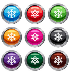 snowflake set 9 collection vector image