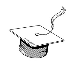 Square academic cap coloring book vector