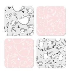 Square table coasters set with doodle tea and vector