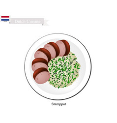 Stamppot with smoked sausage a traditional dish o vector
