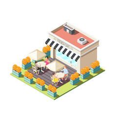 street coffee isometric composition vector image