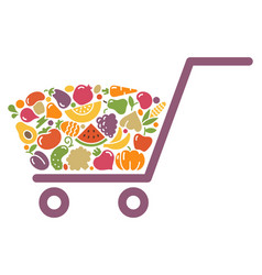 Stylized image of a shopping cart of vegetables vector