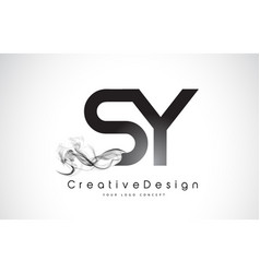 Sy letter logo design with black smoke vector