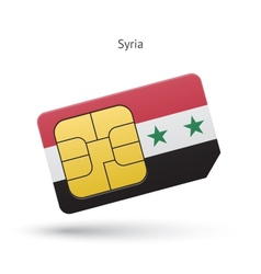 Syria mobile phone sim card with flag vector
