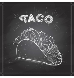 Taco scetch on a black board vector