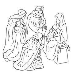 three wise men with jesus and mary vector image