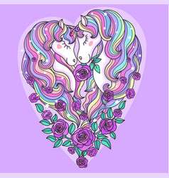 Two beautiful unicorn with a long mane with roses vector
