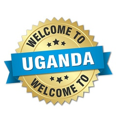 Uganda 3d gold badge with blue ribbon vector