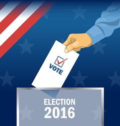 Usa 2016 election card with man hand with ballot D vector