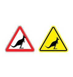 Warning sign of attention Kangaroo Hazard yellow vector image