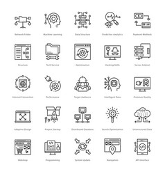 web and seo line icons 57 vector image