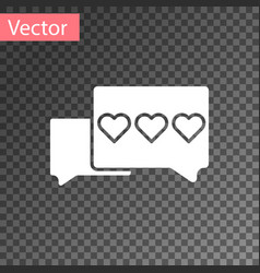 White like and heart icon isolated on transparent vector