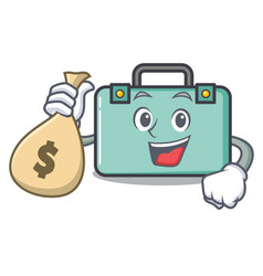 with money bag suitcase character cartoon style vector image
