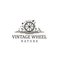 Wood cart wheel plant nature logo farm vector