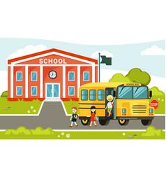 yellow bus near school passenger car vector image