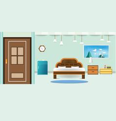 Bedroom interior flat design relax that have door vector